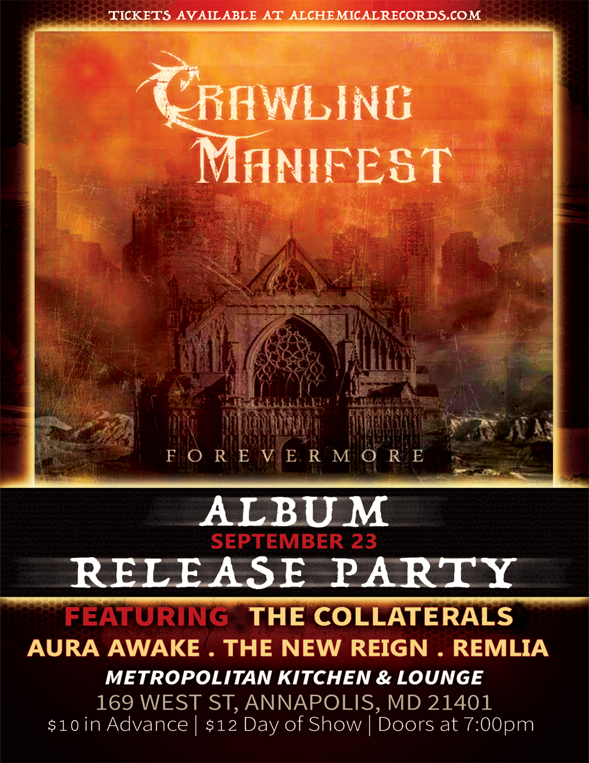 Crawling Manifest Album CD Release Party with The Collaterals, Aura Awake, The New Reign, and Remlia at Metropolitan Kitchen and Lounge in Annapolis, MD on September 23 2016.