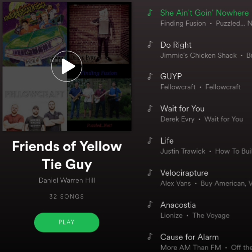 Friends of YellowTieGuy Spotify Playlist
