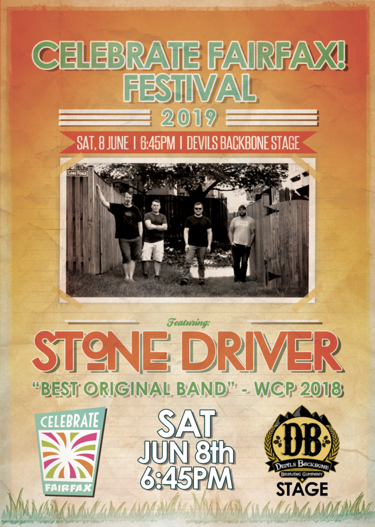 Stone Driver will be performing at the Celebrate Fairfax! Festival this Saturday, June 8th, from 6:45PM to 7:45PM on the Devil's Backbone Brewery Stage. Please come out and have some fun in the sun, and catch Smash Mouth headlining the festival immediately after our set.