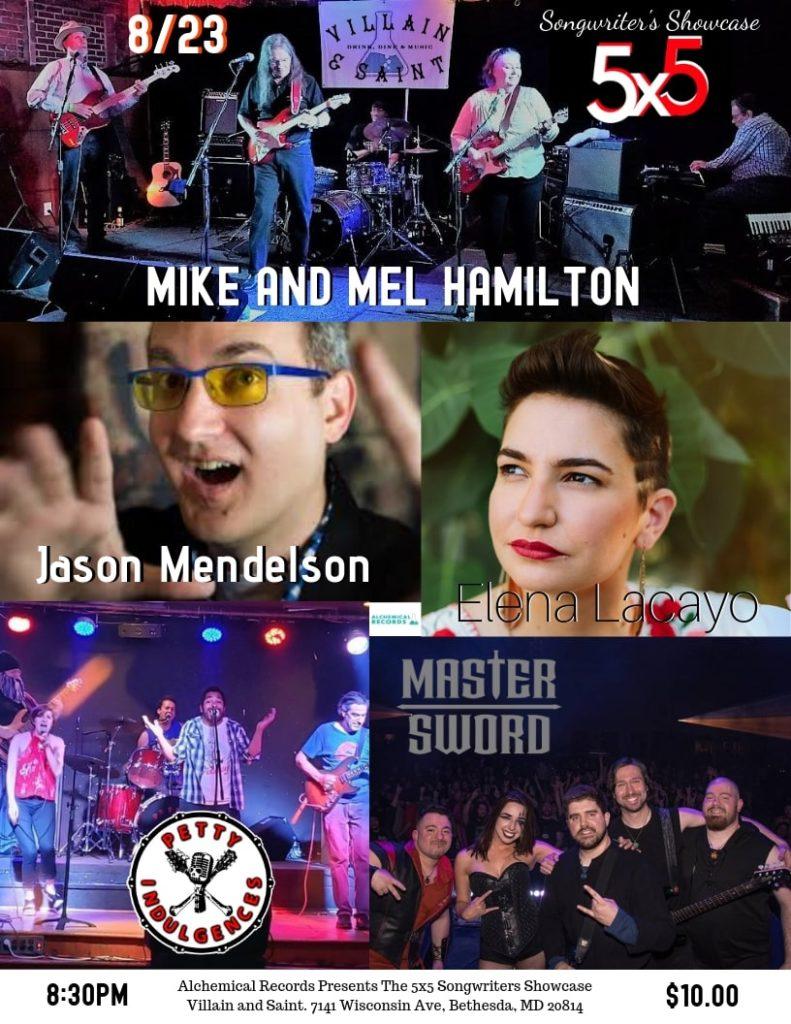 5x5 Songwriters Showcase featuring Elena Lacayo, Mike and Mel Hamilton, Master Sword, Petty Indulgences, and Jason Mendelson