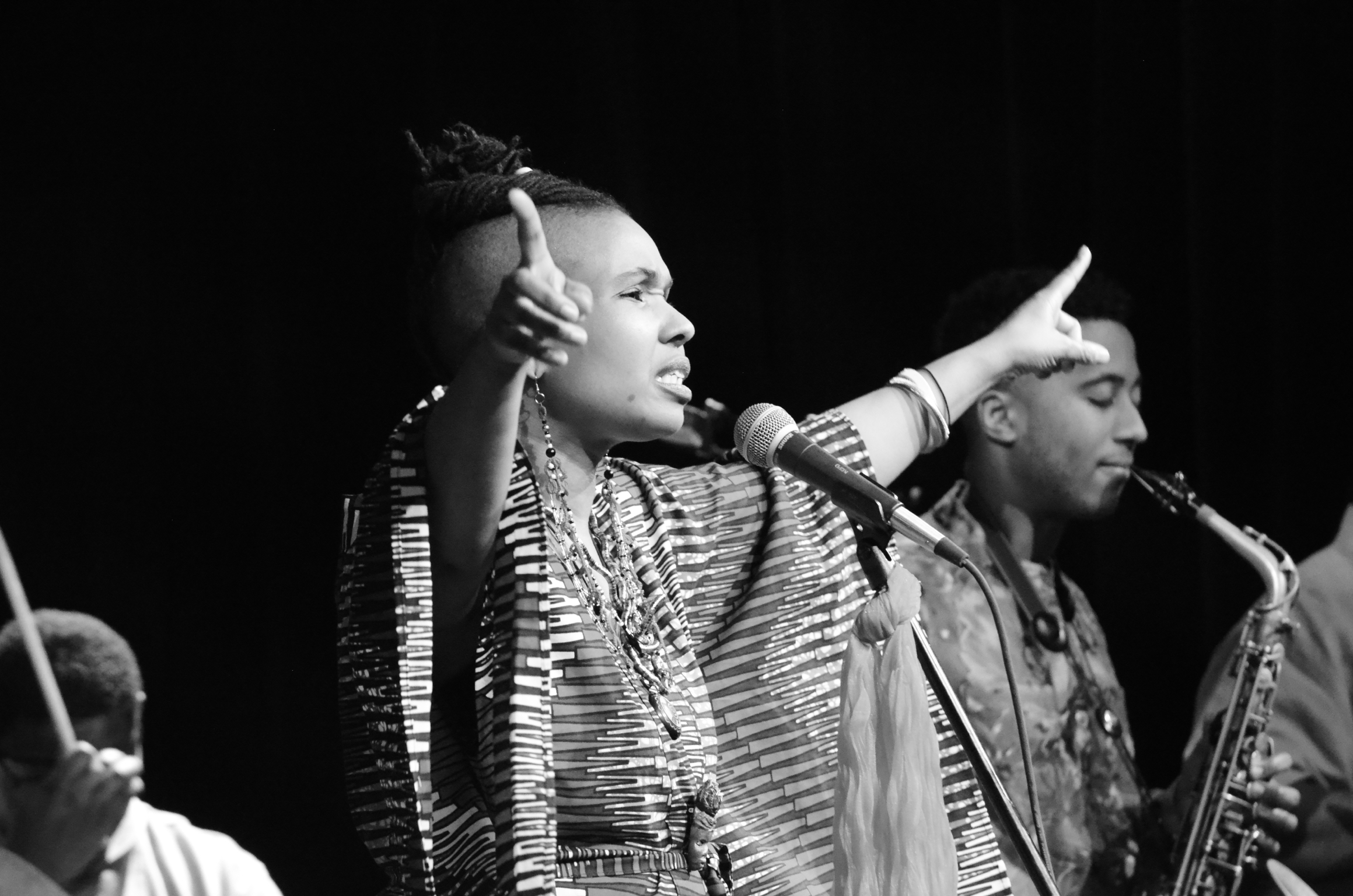 D.C. soul artist Akua Allrich commanding the stage in a live performance